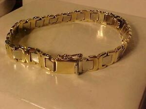 "#3211-10K YELLOW & WHITE GOLD BRACELET-7 1/4"" LONG -18.95 Grams PROFESSIONALLY POLISHED-FREE SHIPPING CANADA Ebank T"