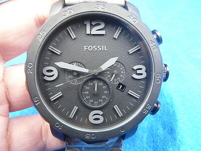 New Old Stock 50MM FOSSIL Chronograph Date Stainless Steel Quartz Men Watch
