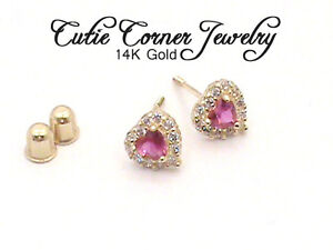 ruby earrings for babies baby 14k yellow gold ruby back 7663