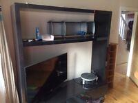 """Stunning Large Habitat """"Aspen"""" Black gloss open cabinet for TV\stereo\books etc. £200ono"""