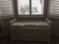 White indoor/outdoor storage bench