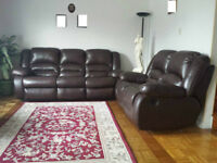 Reclining genuine leather sofas