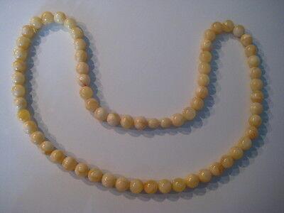 Bernsteinkette Baltic Amber Necklace Weiß-Gelb Beads Balls White-Yellow