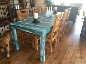 Rustic Blue Dinning Table