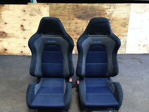JDM MITSUBISHI LANCER EVOLUTION EVO 8 OEM RECARO BLUE GRAY BLACK