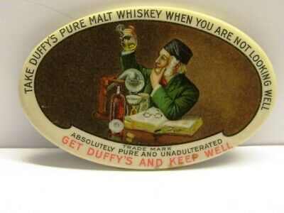 VINTAGE EARLY CELLULOID ADV POCKET MIRROR DUFFY'S MALT WHISKEY BASTIAN BROTHERS