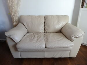Beige Real Leather Love Seat Couch