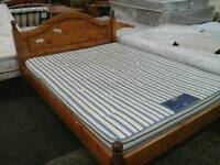 Pine framed double bed with mattress