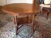 Antique Oak Octagonal Occasional Table