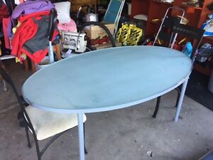 Frosted Glass Dining Table /w 2 Chairs