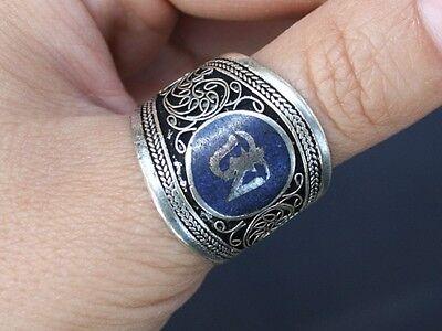 Wide Adjustable Tibetan Filigree Lapis Gemstone Inlay Mantra OM Amulet Ring