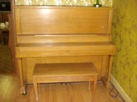 Antique Oak Upright Piano, Refinished. Made in Woodstock