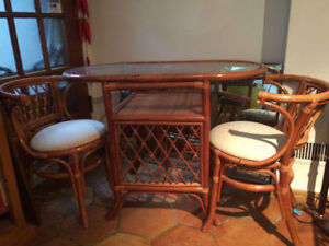 Rattan Set with Dining Table and Two Chairs