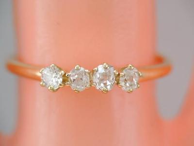 Antique 14K Gold 4 Rose Cut Diamond Ring Band sz 7