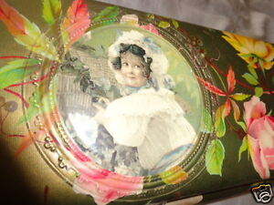 ANTIQUE-VICTORIAN-CELLULOID-GIRL-PINK-YELLOW-ROSES-FLORAL-GLOVE-DRESSER-BOX