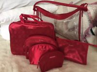 Revlon set of 6, matching overnight and cosmetic bags - lovely deep red - various sizes - brand new