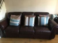 John Lewis brown leather sofa, two chairs and footstool