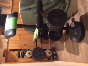 SOLD Weight Bench with weight set