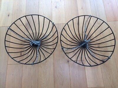 Large Hanging Basket Black Metal Planter x 2 each 56cm Diameter