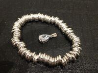925 Sterling Silver Sweetie bracelet, and gem stone pendant