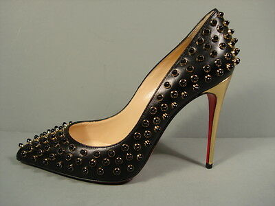 LOUBOUTIN Black Leather Gold Beads FOLLIESCABO Point Toe Pumps Heels 37/6.5 NEW