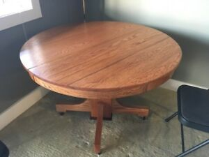 42 Inch Antique Round Solid Oak Table