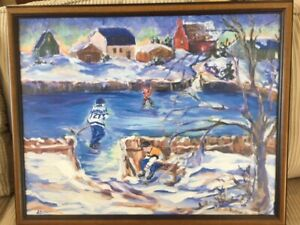 Ice Time Oil Painting signed by HOF Darryl Sittler