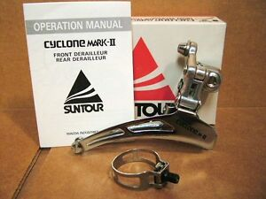 New-Old-Stock-Suntour-Cyclone-Mark-II-Front-Derailleur-Endless-Clamp-28-6-mm