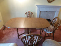 Drop Leaf (Folding) Dining Table and 4 chairs (without cushions)