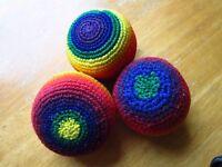 Three hacky sacks / juggling balls