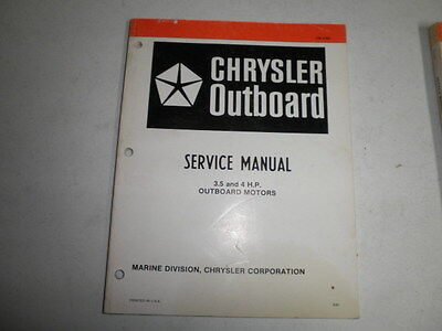 chrysler outboard motor factory service manual 3.5 and 4 hp 1981