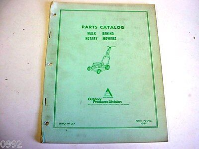 Allis Chalmers Walk Behind Rotary Mower Parts Catalog Lawn & Garden