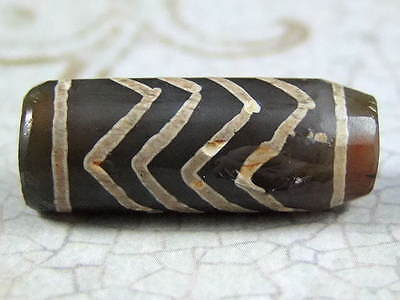 "Ancient Pyu Etched Agate Carnelian "" water wave pattern "" Chung Dzi Bead -23.5mm"
