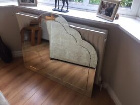 Beautiful, decorative white mirror. In excellent condition with bevelled edge .