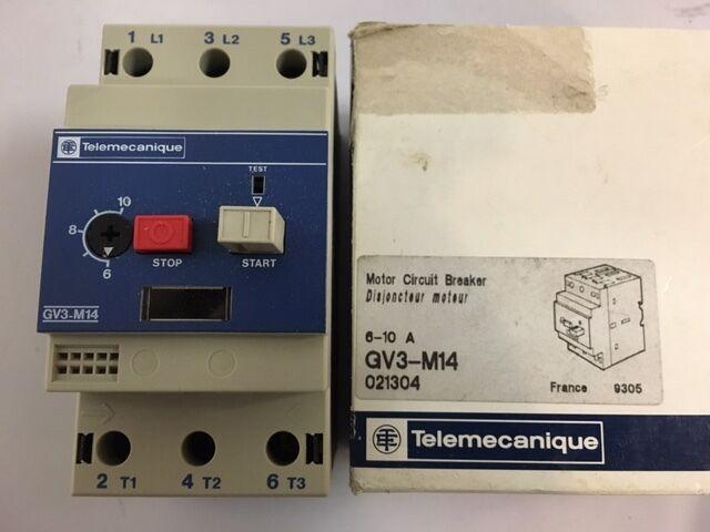 Telemecanique GV3-M14 Circuit Breaker Motor protection 6 - 10 A