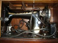 Very nice functioning Antique/Vintage electric Singer sewing machine in original case