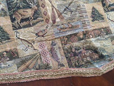 Valance Tapestry - Fish Deer Cabin  Tapestry Window Valance,Modern Rustic Woven Pattern 54