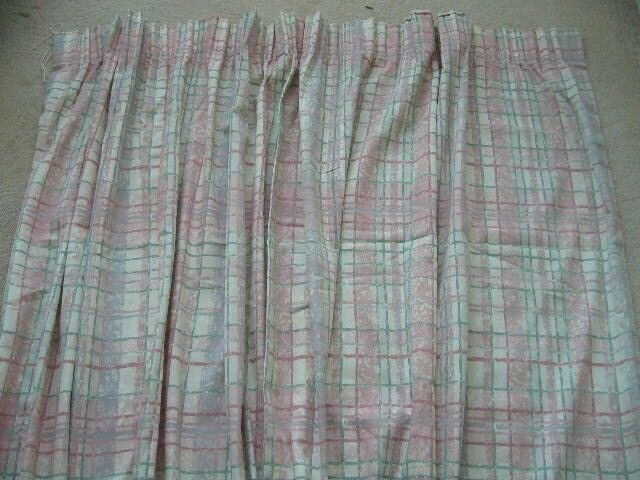"pair curtains pink grey blue stripe check pattern each 66"" wide x 72"" long Bh5"