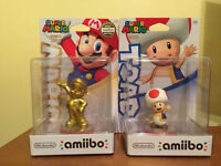Gold Mario and Toad Amiibos - Brand New