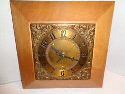 Vintage General Electric Wall Clock, Wood/ Copper Face, With New Quartz Movement