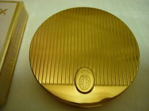 Vintage 60's Coty Round Goldtone Metal Mirror Powder Compact - Unused Wild Honey