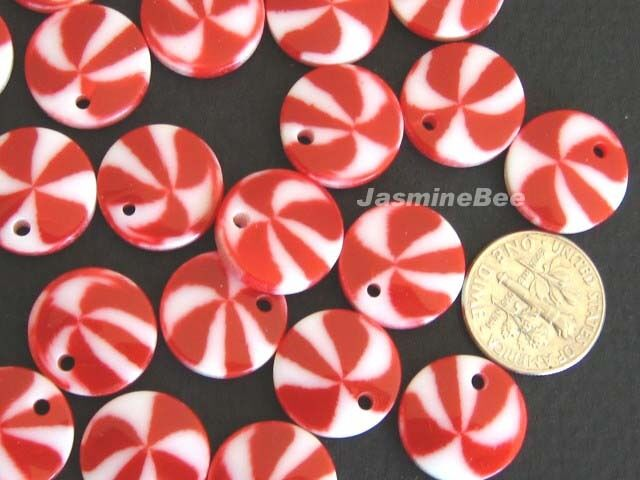 50 Resin PEPPERMINT Candy Pendants Charms Beads 15mm