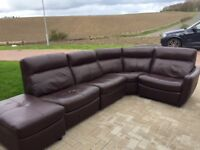 Brown leather corner sofa with 2 recliners and foot stool