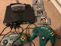 Nintendo 64 N64 with expansion pak, 5 games and 2 controllers