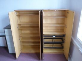 2 x Large solid light wood filing/stationary storage cabinets.