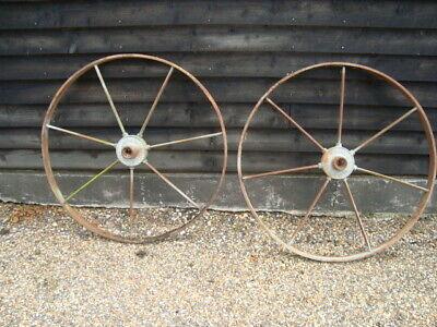 2 Vintage Industrial Steel Wheels