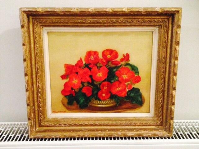 Signed Framed Oil Painting Of Flowers Artist Maeve Somerset