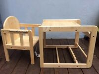 Baby table & chair - East Coast Combination Wooden Highchair