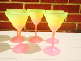 unique beautiful hand made set of 5 Dessert / Sherbet Glasses