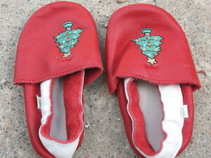 Christmas leather non-slip slippers shoes  size 12-18 months